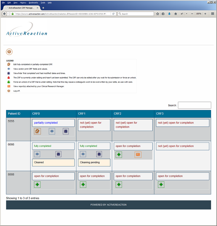 Screenshot of ActiveReaction clinical trials EDC system